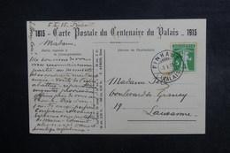 SUISSE - Affranchissement De Finhaut Sur Carte Postale Du Centenaire Du Valais En 1915 Pour Lausanne - L 40703 - Marcophilie