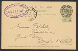 """EP Au Type 5ctm Vert Obl Simple Cercle """"Bruxelles / Départ"""" (1898) Vers Braine-L'alleud / Cachet Privé Librairie Scienti - Entiers Postaux"""