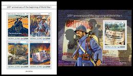 SIERRA LEONE 2019 - Beginning Of World War I. M/S + S/S Official Issue - Sierra Leone (1961-...)