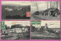 02 Aisne VEUILLY LA POTERIE Lot De 4 Cp Gare Ferme Moulin Petit Eloup Env De Château Thierry Essômes Charly Sur Marne - France