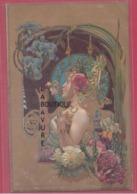 ILLUSTRATEUR---Louis HINGRE---Tete De Femme Et Fleurs--Autorisation Par La Parfumerie Violet--Art Nouveau--Précurseur - Illustrateurs & Photographes