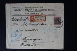 DEUTSCHE REICH EINSCHREIBEN UMSCHLAG STRASSBURG -> NIJMEGEN HOLLAND 1916 CENSUR SIGNIERT - Briefe U. Dokumente