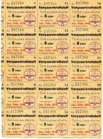 1944 Reichsbeauftragte Für Mineralöl - 15 Tankausweiskarten / Fuel Cards - Für Je 5 Liter Vergaserkraftstoff - Documenti