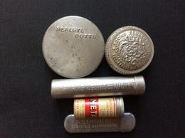 5 BOITES EN FER BLANC  *Nealgyl Bottu *Sucre Édulcor *Metaspirine *Aspirine Du Rhone *Aspirine Du Rhône - Boîtes
