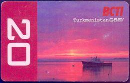Used Phone Cards Turkmenistan GSM BCTI. Boat On Lake . - Turkmenistan
