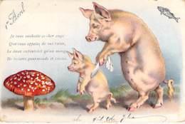 FETES : 1 AVRIL ( Humoristique ) Je Vous Souhaite Ce Cher Ange ( Cochon ) ... CPA Gaufrée Colorisée 1900's - 1° Aprile (pesce Di Aprile)