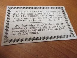 Zeer Oud Aankondiging Kaartje, 1761 - 1808, De Cleir - Images Religieuses
