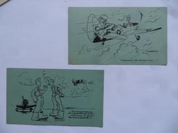 "(Militaria - Humour - Aviation - Patriotisme, Prisonniers En Allemagne...) -  2 Cartes ""FRENCH AIR FORCE In U.S.A."".... - Humor"