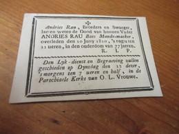 Zeer Oud Aankondiging Kaartje,1733 - 1810, Rau, Mande - Maeker, Speelkaart Op Achterzijde - Images Religieuses
