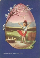 """Cartolina """"Buona Pasqua"""", Bambina E Pulcini All'interno Di Un Uovo (S30) - Pasqua"""