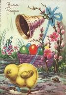 """Cartolina """"Buona Pasqua"""", Pulcino Che Suona La Campanella, Cesta Con Le Uova E Lumaca (S32) - Pasqua"""