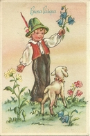 """Cartolina """"Buona Pasqua"""", Pastorello Con Fiori In Mano E Pecorella (S33) - Pasqua"""