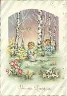 """Cartolina """"Buona Pasqua"""", Angioletti Nel Bosco Che Danno Da Mangiare Agli Uccellini (S34) - Pasqua"""