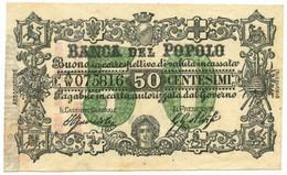 50 CENTESIMI BIGLIETTO FIDUCIARIO BANCA DEL POPOLO FIRENZE 01/11/1868 SUP - Altri