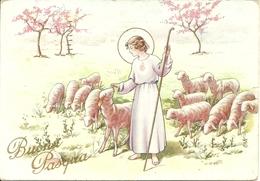 """Cartolina """"Buona Pasqua"""", Gesù Ragazzo Con Gregge Di Pecore (S35) - Pasqua"""