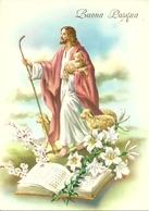 """Cartolina """"Buona Pasqua"""", Gesù Con Le Pecore E I Gigli (S36) - Pasqua"""