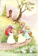 """Cartolina """"Buona Pasqua"""", """"Joyeuses Paques"""" Angioletti Con Le Uova E Coniglietti (S38) - Pasqua"""