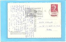 """EGLISE St-PIERRE . CATHEDRALE D'ANGOULEME + TIMBRE AVEC PUB """" MARGARINE  EXEL """" DANS LA MARGE . 2 SCANES - Angouleme"""