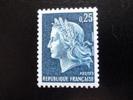 N° 1535a - 25c Bleu Neuf - N°780 Rouge Au Verso - 1967-70 Marianne Of Cheffer