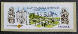 FRANCE - VIGNETTES ILLUSTREES -  2011 - VIG 70 - SALON PHILATELIQUE DE PRINTEMPS - ANGERS - 2010-... Abgebildete Automatenmarke