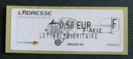 FRANCE - VIGNETTES ILLUSTREES -  2011 - VIG 80 - L ADRESSE - BREGUET XIV - 2010-... Illustrated Franking Labels