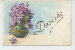 """FLEURS - Jolie Carte Fantaisie Violettes Dans Vase Prénom """"DÉSIRÉE """" - Voornamen"""
