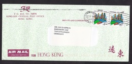 Hong Kong: Airmail Cover To Germany, 1999, 2 Stamps, City Skyline (traces Of Use) - 1997-... Speciale Bestuurlijke Regio Van China