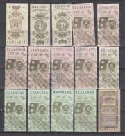 247818 / Lot Of 15 Pieces Tobacco Cigarette Tax , Revenue Fiscaux Steuermarken Fiscal , Bulgaria Bulgarie Bulgarien - Andere