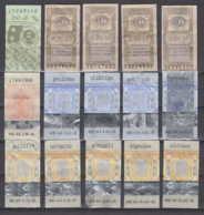 247824 / Lot Of 15 Pieces Tobacco Cigarette Tax , Revenue Fiscaux Steuermarken Fiscal , Bulgaria Bulgarie Bulgarien - Andere