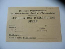 Rationnement Ravitaillement Autorisation D'inscription Sucre - Non Classificati
