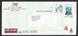 Hong Kong: Airmail Cover To Germany, 2000, 2 Stamps, City Skyline, Museum Tea Ware, Architecture (traces Of Use) - 1997-... Speciale Bestuurlijke Regio Van China