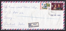 Bermuda: Registered Airmail Cover To Jersey, 1975, 2 Stamps, Flower, Royal Visit, R-label Mangrove Bay (traces Of Use) - Bermuda