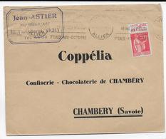 1935 - BANDE PUB SAVON DE MARSEILLE FER à CHEVAL TYPE PAIX Sur ENVELOPPE De VICHY (ALLIER) - Publicités