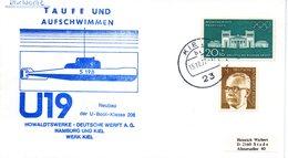 """(UB) BRD Umschlag Mit Cachet-Zudruck """"U-BOOT """"U19 S198"""" Taufe Und Aufschwimmen"""" MiF BRD/WB TSt 15.12.1972 KIEL 1 - U-Boote"""