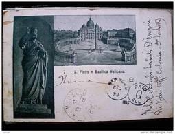 STATO CITTÀ DEL VATICANO - ( ROMA  ) SAN PIETRO E BASILICA VATICANO  - VIAGGIATA REGNO 1900 TIMBRO NEW YORK - Vaticano