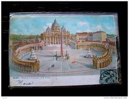 STATO CITTÀ DEL VATICANO - ( ROMA  ) BASILICA E COLONNATO DI SAN PIETRO   - VIAGGIATA REGNO 1904 - Vaticano