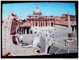 STATO CITTÀ DEL VATICANO - ( ROMA  ) PIAZZA SAN PIETRO E BASILICA - VIAGGIATA REPUBBLICA 1957 - Vaticano
