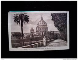 STATO CITTÀ DEL VATICANO - ( ROMA  ) LA CUPOLA DI SAN PIETRO VEDUTA DAL GIARDINO VATICANO - VIAGGIATA REGNO 1908 - Vaticano
