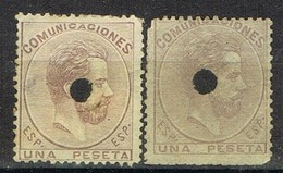 Dos Sellos 1 Pts AMADEO, Perforado Telegrafico, Variedad Color, Num 127T Y 127Ta º - 1872-73 Reino: Amadeo I