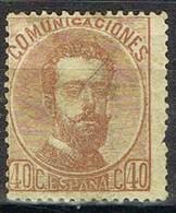 Sello 40 Cts Castaño AMADEO,  España Num 125 º - 1872-73 Reino: Amadeo I