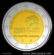 BELGIO 2014 -  BELGIQUE - 2 EURO COMMEMORATIVO LA GRANDE GUERRA FIOR DI CONIO PROVENIENTE DA ROTOLINO - Belgio