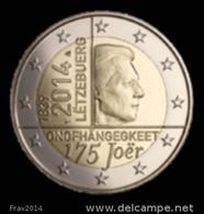 LUSSEMBURGO 2014 - LUXEMBOURG - 2 EURO COMMEMORATIVO INDIPENDENZA  - FIOR DI CONIO PROVENIENTE DA ROTOLINO - Lussemburgo