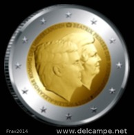 OLANDA 2014 - NEDERLAND - 2 EURO COMMEMORATIVO RE WILLEM ALEXANDER E BEATRICE - FIOR DI CONIO PROVENIENTE DA ROTOLINO - Paesi Bassi