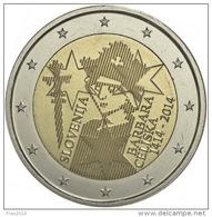 SLOVENIA -  SLOVENJIA  - 2 EURO ANNO 2014 - BARBARA CELISKA - FIOR DI CONIO PROVENIENTE DA ROTOLINO - Slovenië