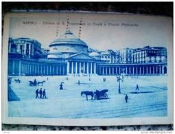 ITALY CAMPANIA - NAPOLI ( NAPOLI )CHIESA DI S. FRANCESCO DI PAOLA E PIAZZA PLEBISCITO + CARROZZE - VIAGGIATA REGNO 1921 - Napoli
