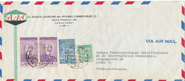 Syria Air Mail Cover Sent To Czechoslovakia Damas 26-5-1947 With FISCAL Stamp And A Stamp On The Backside Of The Cover - Syria