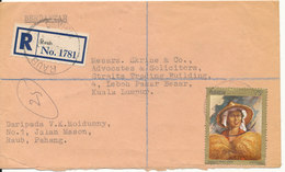 Malaysia Registered Cover Raub Pahang 5-1-1970 Sent To Kuala Lumpur Single Franked - Malaysia (1964-...)