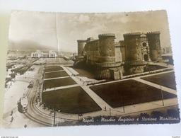 ITALY -  NAPOLI - ( NAPOLI ) MASCHIO ANGIOINO E STAZIONE MARITTIMA, TRENI/TRAM - VIAGGIATA 1954 ( Francobollo Asportato - Napoli