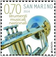 REPUBBLICA SAN MARINO - ANNO 2014  - EUROPA STRUMENTI MUSICALI  TROMBA, TIPICO CORNO -  NUOVI  MNH ** - Nuovi