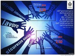 REPUBBLICA SAN MARINO - ANNO 2014  - BF DICHIARAZIONE DEI DIRITTI -  NUOVI  MNH ** - Nuovi